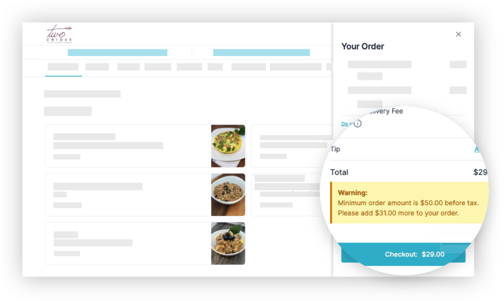 HoneyCart catering order automation software - Minimum order amount policy